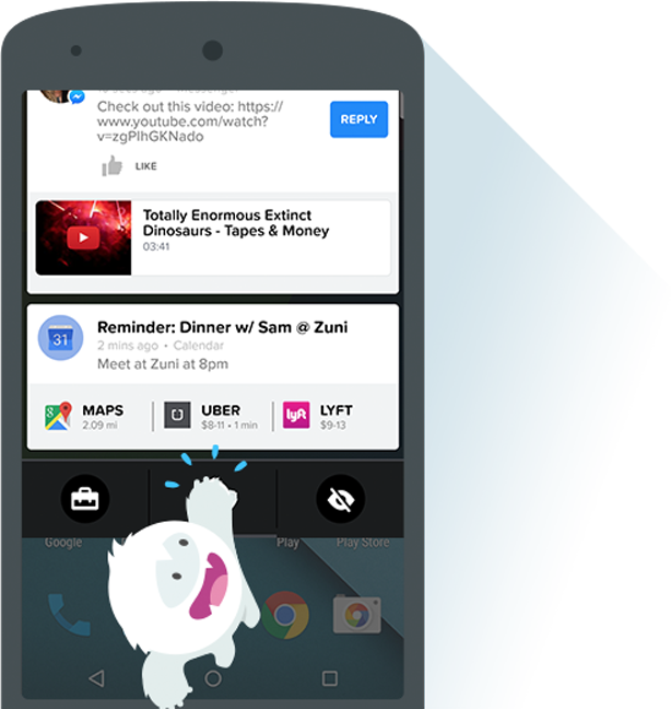 Snowball notifications for android